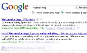 Résultat webmarketing google