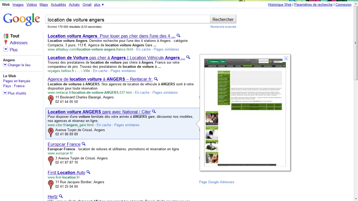 Nouveau google adresses + screenshot Google