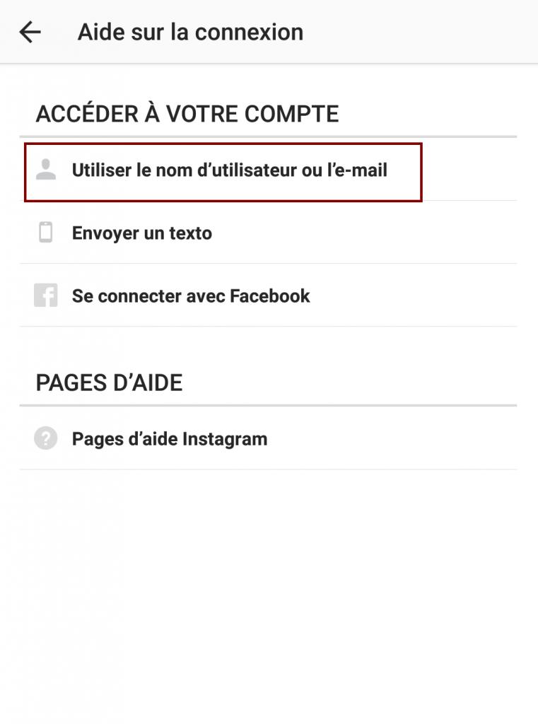 Acces compte instagram mot de passe perdu