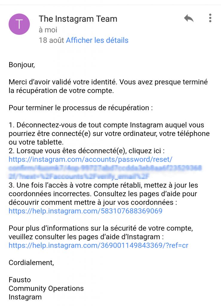 Compte instagram piraté le récupérer